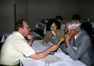 Circa 1990. A radio interview is currently underway at SHOT in the press room.